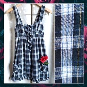 {Mossimo}Green Tartan Plaid Flannel Ruffle Dress S